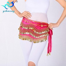 Bellydance Belly Dance Costume Hip Scarf Belt Wrap Skirt Handmade Velvet 248 Gold Coins Practice Waist Chain 9 Colors