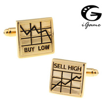 iGame Men Cufflinks Fashion wholesale&retail top copper Stock market BUY LOW SELL HIGH Design Cuff links Free Shipping(China)