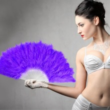11Colors white orange blue red  feather wedding party ball lady folding hand fan Fancy Elegant Props Phantom wedding decoration