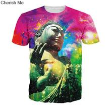 Women/men Summer Style Universe Colors Snazzy Buddha Mind T-Shirt hip-hop t shirt Galaxy Rainbow Tee Plus size Unisex TOPS
