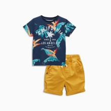 2017 Summer Children's Clothing Sets baby boy casual suit sets Kids clothing suit set cotton Maple leaves /cart T-shirt+shorts