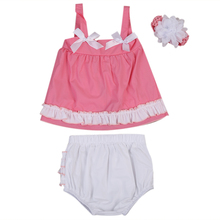 Summer Toddler Baby Girl Clothes Vest Tops+ icing Shorts Brief Flouncing +Headbands 3pcs Sleeveless Kid Girl Clothes(China)