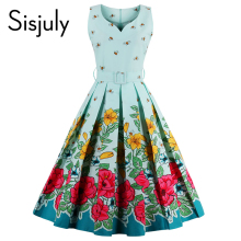 Sisjuly 2017 floral bee print vintage dresses style 1950s cute party dress with sashes summer dress sleeveless vintage dresses(China)