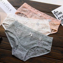 high-end three-dimensional carved full lace mature sexy transparent ladies underwear women panties bragas mujer majtki culotte(China)