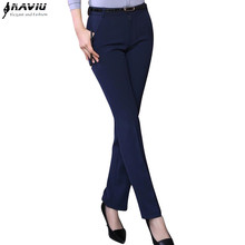 Fashion Women trousers plus size formal OL spring autumn 2017 new office ladies solid color Slim Mid waist pants Navy blue Black(China)
