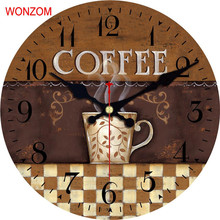 WONZOM Coffee Design Large Latte Wall Clock Silent Living Room Wall Decor Saat Home Decor Watch Wall 2017 Reloj De Pared Gift