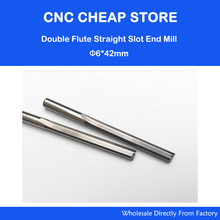 NEW 2pcs/lot 6*42MM Carbide Two/Double Flute Straight Slot Router Bit, CNC Carving Engraving Tools, Milling Cutter Free Shipping