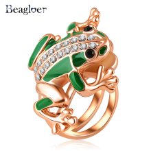 Unisex Jewelry Frog Shaped Rings  Rose Gold Color Austrian Crystal Green Ring Punk Style Ri-HQ1029-A