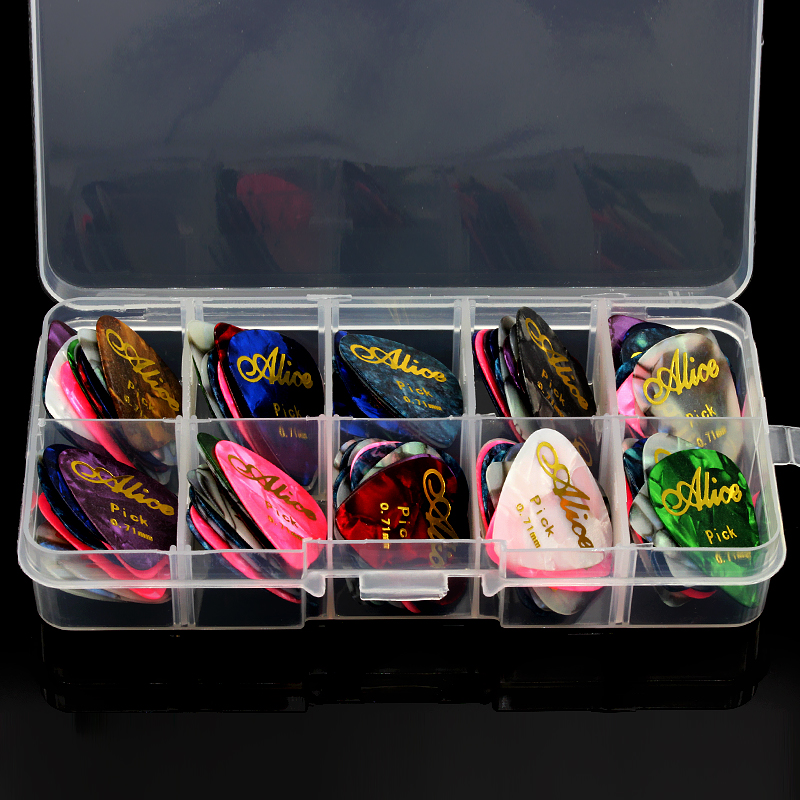 Alice 50pcs Guitar Picks Set Box Case Acoustic guitar Two Sides Earrings Pick Guitar Accessories For Ukulele Bass Electric<br><br>Aliexpress