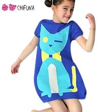 Cartoon Cat Pattern Children Sweater Short Sleeve 1-6Yrs Kids Clothes 2016 Baby Costume Good Quality Fashion Girls Knit Dress