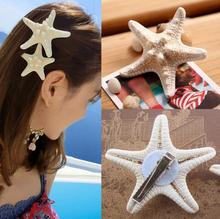 2014 New Fashion Real Milky White Beach Starfish Hairpin Gift For Girl Hair Accessories(China)