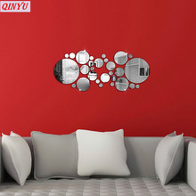 30pcs 3D Diy Mirror Wall Sticker Round Shape Art Stickers Decal Mosaic Mirror Effect Livingroom & Kids Room Decorations 8ZCF005