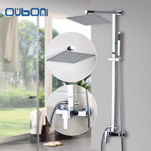 "US Stock Ouboni New Bathroom Shower Set Wall Mounted Shower Faucet 8"" Shower Head Water Saving Shower Set Faucets Brass Chrome"