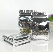 Qi 50Pcs/Lot 17*26cm Silver Stand Up Aluminum Foil Line With Clear Window Zipper Top Pack Bag Coffee Storage Valve Packaging Bag