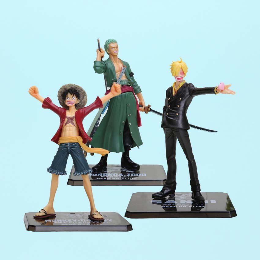 Japanese Anime One Piece Roronoa Zoro Vinsmoke Sanji Monkey D Luffy PVC Action Figure Model Doll Toys Kids Birthday Gift(China)
