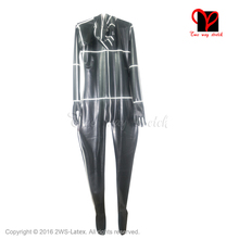 Buy Black white trim Sexy Latex Full Body Suit Socks Hood Mask Gloves Rubber cat suit Latex catsuit stocking Jumpsuit T-013