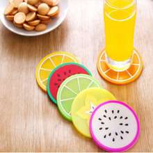 6x Silicone Fruit Slices Pattern Coaster Glass Cup Mat Drink Placemat Non Slip 2016 Hot Sell