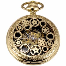Golden Punk Movement Analog Hollow Hunter Men Mechanical Pocket Watch With Long Chain Steampunk Hand Winding Clock Gift / WPK220