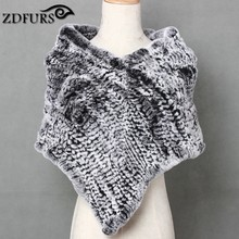 ZDFURS *Real Knitted Rex Rabbit Fur Cape Triangle fur shawl Stole Wrap rabbit fur Poncho Scarf Neck Warmer