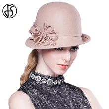 FS Vintage Floral Wool Felt Hat For Women Wide Brim Bowler Fedora Hat Winter Khaki Red Black Female Floppy Chapeu feminino(China)