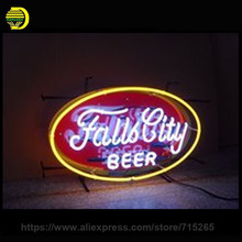 Falls City Beer Neon Sign Decorate Plastic Board Glass Tube Neon Bulb Recreation Room Indoor Frame Sign Store Displays 24x20(China)
