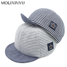 MOLIXINYU2017 Fashion Baby Hats For Boys Girls Baseball Cap Children Snapback Cap Boys Mesh hat Cotton Striped Summer Cap Unisex(China)