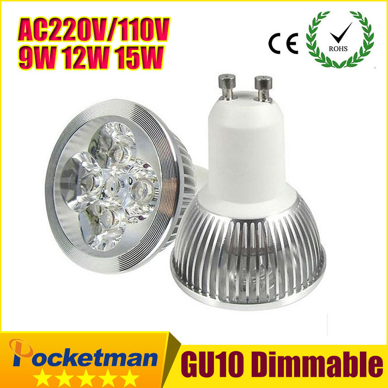 1PCS Ultra Bright dimmable 9w 12W 15w GU10 LED Bulbs Spotlight High Power gu 10 led Lamp Day White LED SPOT Light z90(China)