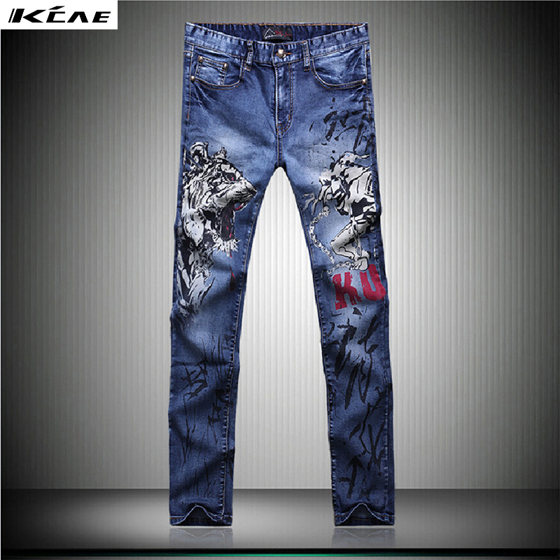 Big size 28-382016 New Blue jeans men Fashion Printed slim straight jeans Casual Pattern stretch jeansÎäåæäà è àêñåññóàðû<br><br>