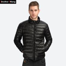 Brother Wang Men's Duck Down Jacket 2017 New Autumn Winter Men Fashion Casual Light Collar Coat Brand Clothes(China)