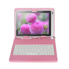 "7 inch Universal Tablet PC PU Leather Case with Keyboard/Holder/Capacitive stylus for 7"" Tablet PC MID PDA Pink"