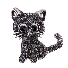 Vintage Black Crystal Cute Cat Brooch Pins 28*31*3mm Women Brooch 2017 Fashion pin up Brooch Accessories(China)