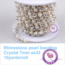 Rhinestone pearl banding 7mm China B grade rhinestone and similar pearl banding 10 yards for one roll CPAM free