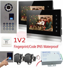 "1V2 Apartment Video Intercom Ip65 Waterproof Fingerprint keyboard HD 700TVL CCD Camera Intercom Video Phone 7"" Touch Button  LCD"