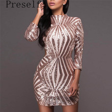 Preself Dresses Sexy Patchwork Geometric Paillette Glitter Hollow Out Back Mini Dress Party Club Women Silver Gold Color