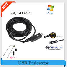 Hot! USB Endoscope Camera 7mm Lens Snake Tube Camera 2M/5M Mini USB Borescope Inspection Camera for PC Waterproof Endoscopio Cam