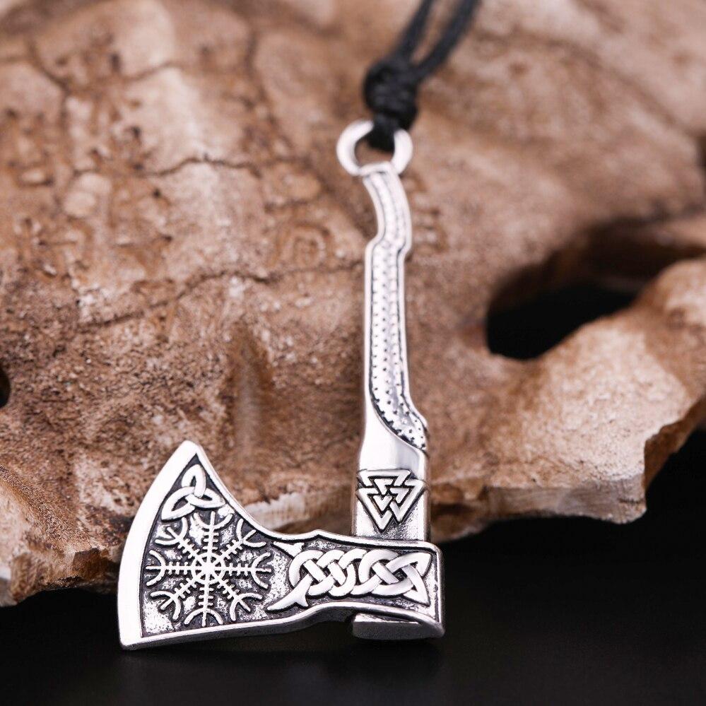 Viking Mammen Axe Pendant Gothic Mens Necklace Scandinavian Norse Nordic Slavic
