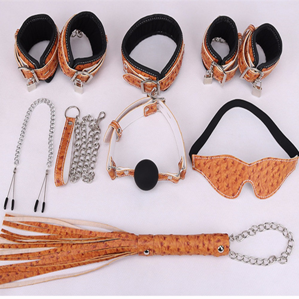 Fetish Sex Bondage Slave Toys For Couples , Nipple Clamps Wrist Ankle Cuffs Mouth Plug Ball Gag Whip Collar Eye mask<br>