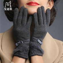 ladies cute winter gloves women full finger soft wool warm mittens gloves woman bow for girls wine red pink  B-0875