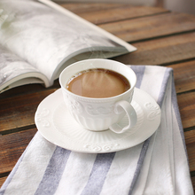 200 ML Embossed  bone china coffee hangers cup and saucer set white flower afternoon tea cup set