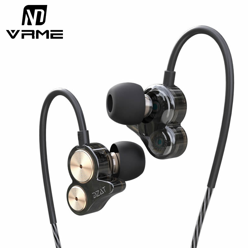 Vrme Headphone Sport Running Headset Bass Stereo Earphone Noise Cancelling Double Dynamic 3.5MM with Microphone for iPhone 7 MP4<br>