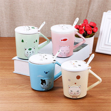 Personality Cartoon Cat Coffee Mugs Triangle Handle Cup Breakfast Milk Cups 3D Cat Ears Mug Porcelain Cup With Lid Spoon Gifts(China)
