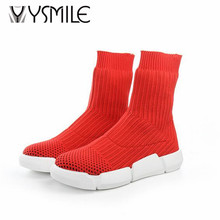 Free shipping 2017 autumn stock boots shoes women fashion ankle boots womens winter shoes slip on knitted shoes high cut