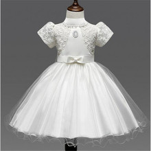 The new Korean style girls dress embroidered puff sleeve bowknot Flower Girl Dress for wedding party children's clothing(China)
