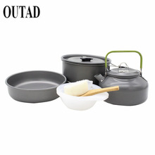 OUTAD 9pcs Camping pot Cookware Mini Pan Kettle and Pot Set for 2-3 Individuls hat Sale