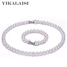 YIKALAISI 2017 New Natural Pearl jewelry set 8-9mm pearl Necklace Bracelet 925 sterling silver jewelry for women love gift(China)