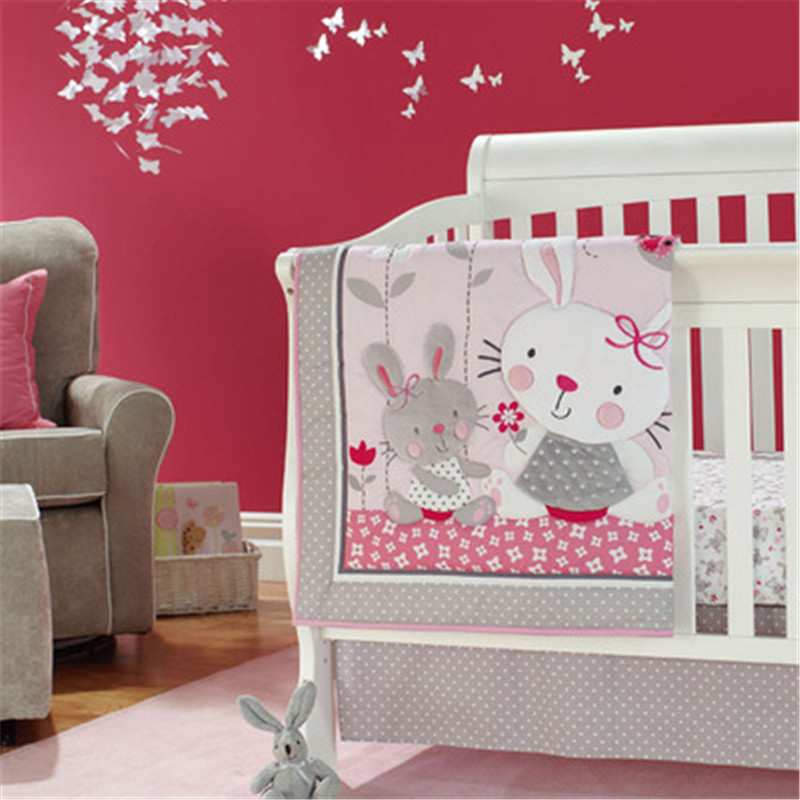 Beautiful Cotton Pink Crib Bedding Kit Rabbit Baby Bedding Set Girls Infant Cot Kit With Baby Quilt