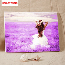 HELLOYOUNG DIY Handpainted Oil Painting Purple happy  Digital Painting by numbers oil paintings chinese scroll paintings