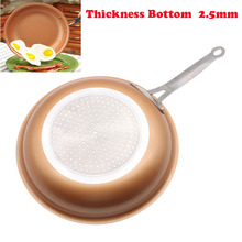 Non-stick Copper Frying Pan 11 inch Cookware Oven & Dishwasher Safe Ceramic Pan Frying Red Pans Nonstick Skillet Copper Saucepan(China)