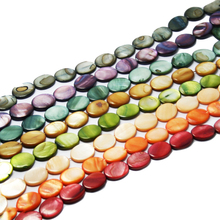 Free shipping 20pcs mixed color with Oblate Great choice Nature MOP Shell Beads for DIY Jewelry Bracelets Necklaces(China)