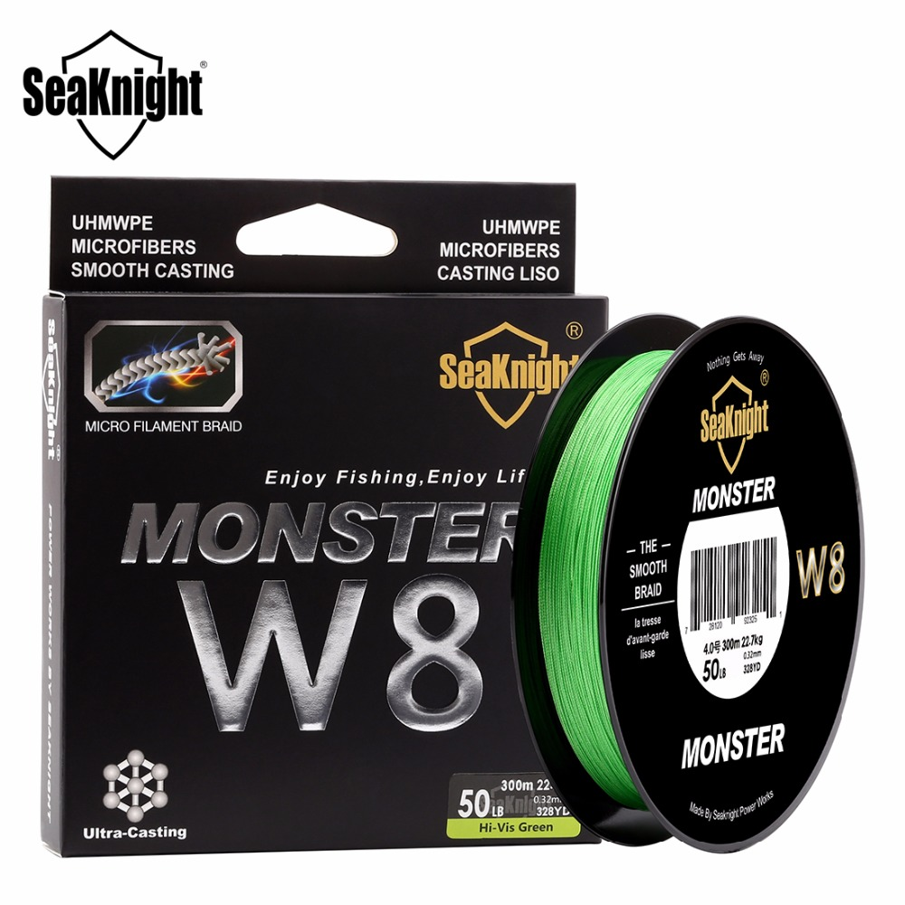 SeaKnight W8 300M 8 Strand Weaves Fishing Lines PE Braided Multifilament Fishing Rope Wide Angle Braided Technology 20-100LB <br><br>Aliexpress